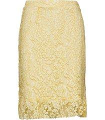 clarita lace skirt knälång kjol gul cream