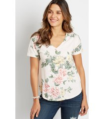 maurices womens 24/7 pink floral drop shoulder classic tee