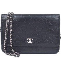 chanel camellia lambskin leather wallet on chain black sz:
