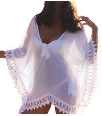 zanzea blusas camisas 2018 mujeres del verano blusas flojas ocasionales jerseys sólidas de trajes de baño más del tamaño del delantal del cordón del remiendo negro tops -blanco