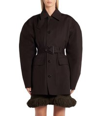 women's bottega veneta belted waterproof stretch cotton coat, size 8 us - black