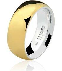 aliança mista ouro 18k e prata 925 natalia joias alm-154