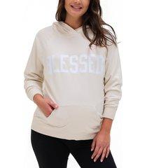 women's bun maternity grateful maternity graphic hoodie, size medium - beige