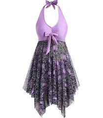 plus size halloween floral skull mesh handkerchief tankini swimwear