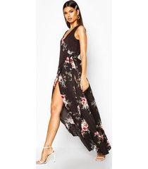 bloemenprint maxi wikkel jurk met franjeszoom, zwart