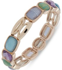 anne klein gold-tone multi-stone stretch bracelet