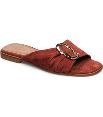milla tan nappa shoes summer shoes flat sandals röd flattered