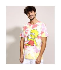 camiseta masculina lisa simpson estampada tie dye manga curta gola careca multicor