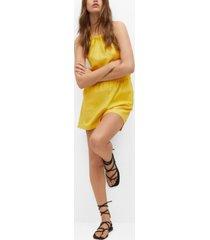 mango women's bow linen jumpsuit