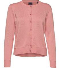 light cotton c-neck cardigan gebreide trui cardigan roze gant