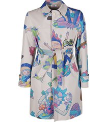 white and blue rick & morty trench coat