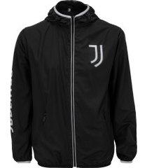 jaqueta corta-vento juventus com capuz - masculina - preto