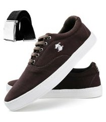 sapatênis dhl calçados casual masculino marrom e cinza + cinto