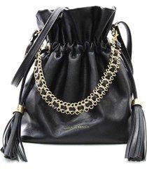 bolsa feminina maria verônica saco com corrente couro preto