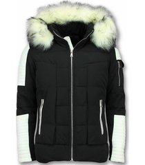 witte bontjas -zwarte winterjas - winterjas heren - nep bontjas - zwart