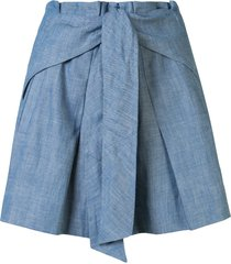 3.1 phillip lim belted pussybow shorts - blue