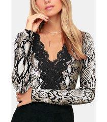 camicetta v collo a manica lunga con stampa floreale in pizzo sexy