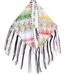 missoni crochet fringed scarf - white