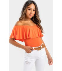 noreen flounce off the shoulder bodysuit - coral