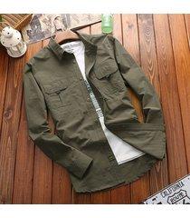tasche petto esterne quick dry solid color lavorato camicia per gli uomini