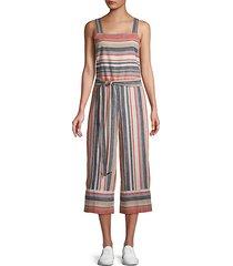 striped linen & cotton blend jumpsuit