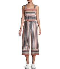 striped linen & cotton blend jumpsuit