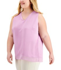 alfani plus size chiffon-hem top, created for macy's