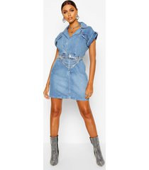 belted double breasted denim dress, indigo