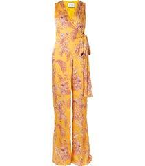 alexis kamiko floral wrap jumpsuit - yellow