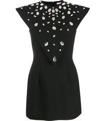 christopher kane crystal gem mini dress - black