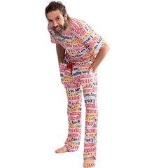 pijama thais gusmã£o longo la colorido - multicolorido - masculino - dafiti