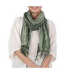 batik tie-dyed cotton scarf, 'speckled field in moss' (thailand)