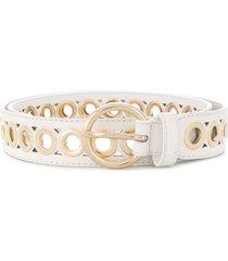 sandro paris delia round buckle belt - white