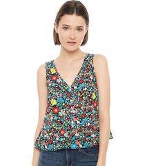 blusa slim cali floral multicolor calvin klein