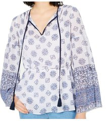 blouse flare sleeve mosaic