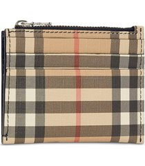 burberry vintage check and leather zip card case - neutrals
