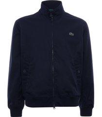 lacoste water-resistant cotton zip jacket   navy   bh1045-166