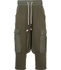 mostly heard rarely seen drop crotch cargo hybrid pants - green