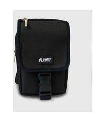mini bag alkary fivela comprida preta