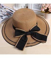 moda sombrero de paja para las mujeres verano casual de ala ancha sun cap