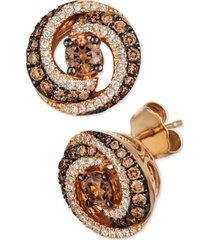 le vian chocolate diamond & vanilla diamond swirl stud earrings (7/8 ct. t.w.) in 14k rose gold