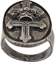 goti embossed cross ring - silver