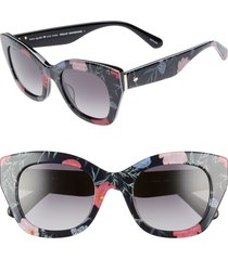 kate spade new york jalena 49mm gradient sunglasses in black/floral print at nordstrom