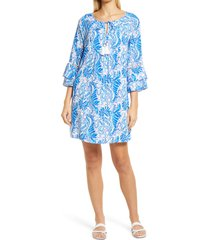lilly pulitzer(r) azita print tunic dress, size small in baha blue bird is the word at nordstrom