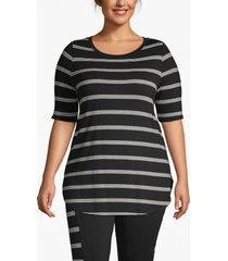 lane bryant women's active striped high-low tunic 14/16 black/white