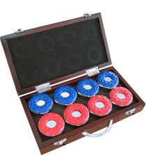 blue wave shuffleboard pucks with case, set of 8