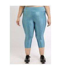 calça feminina plus size esportiva ace corsário texturizada cintura alta azul