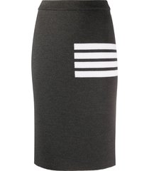 thom browne 4-bar links stitch pencil skirt - grey