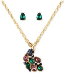 charter club gold-tone multicolor crystal peacock pendant necklace & stud earrings set, created for macy's
