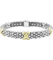 lagos 'x' two-tone rope bracelet, size 6 in sterling silver/gold at nordstrom